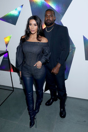 Kim Kardashian rocked an off-the-shoulder denim top by Burberry at the 2019 Innovator Awards.