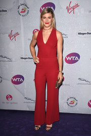Eugenie Bouchard ditched the dress in favor of this red Ralph Lauren jumpsuit for her WTA pre-Wimbledon party look.