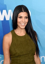 Kourtney Kardashian sported her signature straight center-parted 'do when she attended the Stylemakers event.