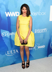 Freida Pinto was a ray of sunshine in a bright yellow fit-and-flare dress by Roksanda at the Stylemakers event.
