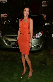 Jaime Murray's tangerine frock had a cool ruffle embellishment that enhanced the asymmetrical neckline of the dress.