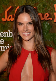 Alessandra Ambrosio opted for simple styling with this long center-parted 'do at the Wallis Annenberg Center Inaugural Gala.
