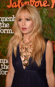 Rachel Zoe adorned her decollete dress with a stunning gold statement necklace for the Wallis Annenberg Center Inaugural Gala.