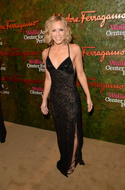 Maria Bello sizzled in a slinky black lace evening dress by Ferragamo at the Wallis Annenberg Center Inaugural Gala.