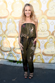 Julie Benz kept it relaxed yet chic in a strapless Oriental-print jumpsuit during the Wanderlust Hollywood grand opening.