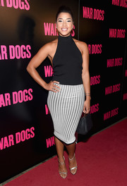 Hannah Bronfman flaunted her toned arms in a black halter top during the New York premiere of 'War Dogs.'