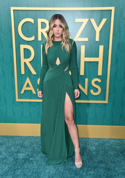 Chloe Bennet went for simple styling with a pair of nude ankle-strap sandals.