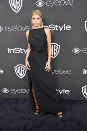 Sofia Richie opted for a simple black Balenciaga gown when she attended the Warner Bros. and InStyle Golden Globes post-party.