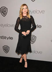 Emily VanCamp was all about refined elegance in a long-sleeve, lace-accented LBD at the Warner Bros. and InStyle Golden Globes after-party.