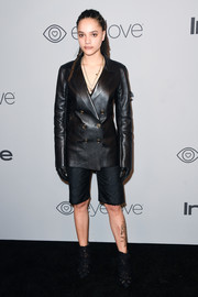 Sasha Lane was her usual edgy self in a black leather blazer by Off-White at the Warner Bros. and InStyle Golden Globes after-party.