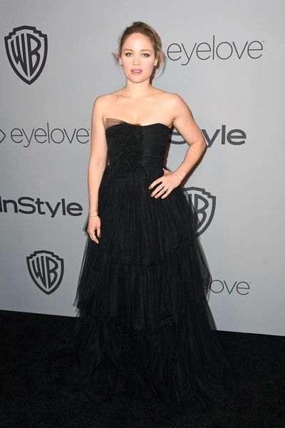Erika Christensen was a goth princess in a strapless black tulle gown at the Warner Bros. and InStyle Golden Globes after-party.