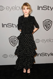 Natalia Dyer brought a profusion of ruffles to the Warner Bros. and InStyle Golden Globes after-party with this Giambattista Valli polka-dot number.
