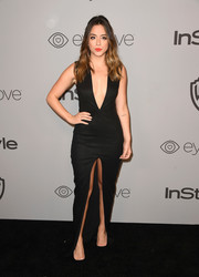 Chloe Bennet went for a bold black Lexi dress with a navel-grazing neckline and a high front slit when she attended the Warner Bros. and InStyle Golden Globes after-party.
