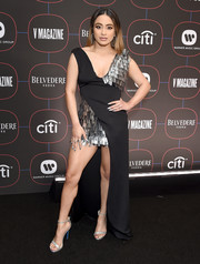 Ally Brooke complemented her frock with silver ankle-strap sandals by Loriblu.