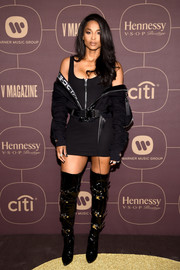 Ciara styled her LBD with a black Michael Ngo jacket worn off the shoulders.