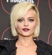 Bebe Rexha rocked a slightly messy bob with side-swept bangs at the Warner Music Group pre-Grammy celebration.
