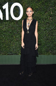 Nicole Richie oozed bohemian glamour wearing this black Emanuel Ungaro gown, featuring a tiered skirt and a plunging neckline, at the Who What Wear 10th anniversary event.