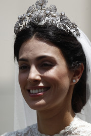 Alessandra de Osma opted for a classic and elegant pair of diamond studs when she married Prince Christian of Hanover.