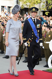 Princess Madeleine looked very stately in the gray dress with strategic pleats that she wore to the wedding of the Prince of Luxembourg.
