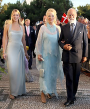 Gabriella Windsor looked captivating in a beaded pale blue halter gown.