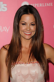 Brooke Burke parted her brunette tresses down the center while her straight locks framed her face.