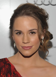 Christa B. Allen wore her hair in side-swept updo with soft face-framing curls at the Weinstein Company and Audi celebration of awards season.