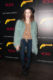 Tali Lennox made a statement at the screening of 'This Must Be the Place' in a textured coat.