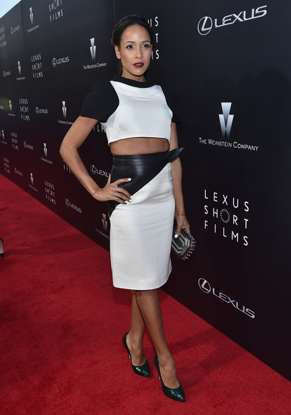 Dania Ramirez amped up the edge factor with an industrial-looking spikey gunmetal clutch.