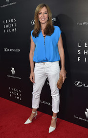 Allison Janney kept it casual on the red carpet in a loose blue blouse during the Lexus Short Films event.