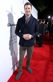 Tilky Jones opted for the preppy look with a shawl-collar, navy blue pea coat at the 'Life is Amazing' event.