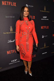 Garcelle Beauvais was edgy-chic in a grommeted red frock by ASOS at the Weinstein Company and Netflix Golden Globe party.