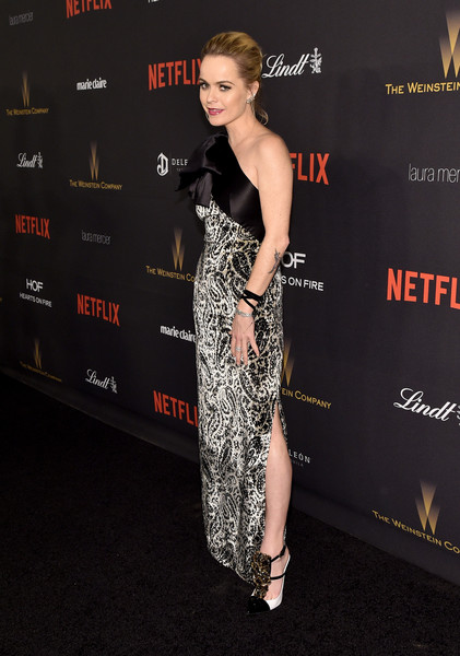 Taryn Manning went classic in a black-and-white paisley one-shoulder gown by Lanvin at the Weinstein Company and Netflix Golden Globe party.