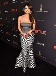Rocsi Diaz went for modern glamour in a John Paul Ataker strapless peplum gown with a zigzag-print skirt at the Weinstein Company and Netflix Golden Globe party.