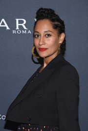 Tracee Ellis Ross attended the Weinstein Company pre-Oscar dinner wearing her hair in a cornrow updo.