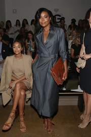Gabrielle Union Wade looked uber stylish in a denim wrap dress by Wes Gordon during the label's fashion show.
