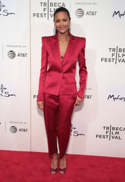 Thandie Newton looked flawless in a pointy-shouldered ruby satin suit by Schiaparelli at the Tribeca Film Festival premiere of 'Westworld.'