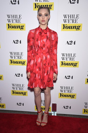 Amanda Seyfriend looked demure in a long-sleeve red print shirtdress by Valentino at the NY premiere of 'While We're Young.'