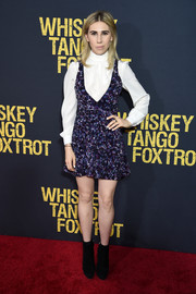 Zosia Mamet teamed a purple sequin mini dress with a white high-neck blouse, both by Jill Stuart, for the world premiere of 'Whiskey Tango Foxtrot.'