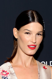 Hanneli Mustaparta slicked her hair back into a center-parted ponytail for the screening of 'White Gold.'