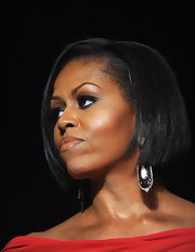 The first lady sported a sleek, short bob with a polished side part. We love the smokey eye makeup!