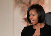 Michelle Obama looked trendy with this blunt bob at the Governors Ball talent preview.