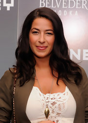 Rebecca Minkoff styled her hair in soft side swpet curls for the Whitney Art Party.