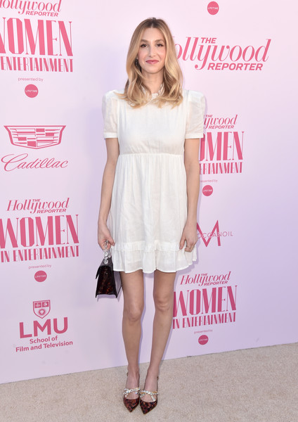 Whitney Port Baby Doll Dress [hollywood reporter,clothing,white,dress,cocktail dress,fashion model,fashion,premiere,footwear,shoulder,pink,power 100 women in entertainment,whitney port,power 100 women in entertainment,fashion designer,hollywood,california,milk studios]