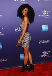 Yaya DaCosta wore a pair of heeled ankle boots featuring bold buckles at the 'Whole Lotta Sole' premiere.