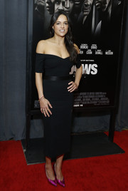 Michelle Rodriguez was classic and elegant in a black off-the-shoulder dress by Jill Stuart at the special screening of 'Widows.'