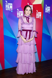 Zoe Kazan went ultra sweet in a tiered lavender gown by Honor at the BFI London Film Festival premiere of 'Wildlife.'