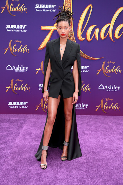 Willow Smith Evening Sandals [aladdin,clothing,carpet,red carpet,fashion,dress,little black dress,flooring,event,fashion model,formal wear,arrivals,willow smith,los angeles,california,disney,premiere,premiere]