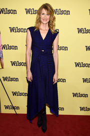 Laura Dern went modern in a cobalt handkerchief-hem cutout dress by Proenza Schouler for the New York screening of 'Wilson.'