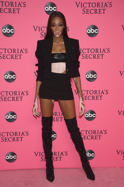 Winnie Harlow Over the Knee Boots [clothing,pink,thigh,fashion,leg,joint,tights,footwear,knee,carpet,arrivals,winnie harlow,new york city,victorias secret,viewing party,victorias secret viewing party,spring studios]