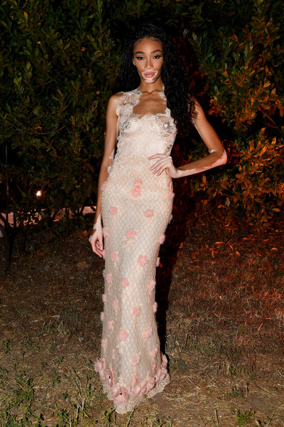 Winnie Harlow Embroidered Dress [dress,clothing,gown,lady,shoulder,pink,fashion model,fashion,beauty,formal wear,fendi couture fall winter 2019,winnie harlow,performance,italy,rome]